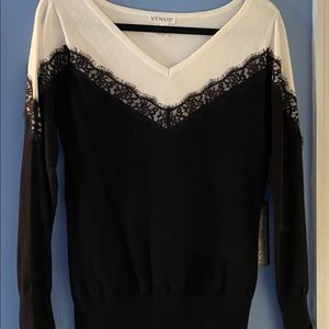 Venus V neck sweater with lace detail, size M
